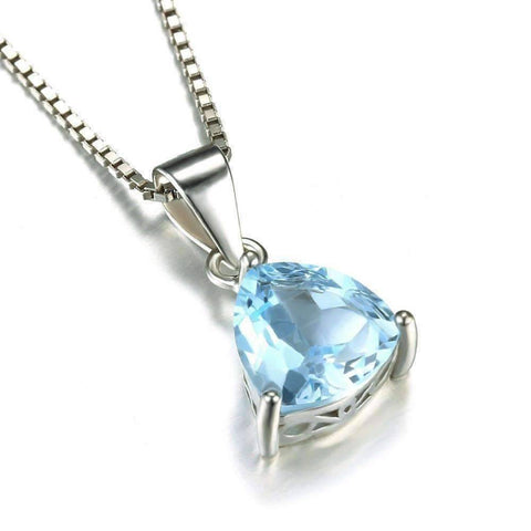 Feshionn IOBI Necklaces Ice Blue Pendant Ice Blue Genuine Topaz Trillion Cut 2.2CT IOBI Precious Gems Pendant Necklace