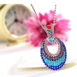 Feshionn IOBI Necklaces Illusions Multi-Colored Crystal Turkish Eye Pendant Necklace