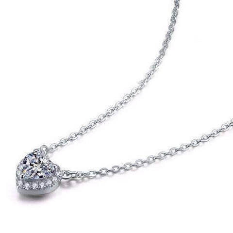 Feshionn IOBI Necklaces Isabella 1CT Heart Halo IOBI Cultured Diamond Solitaire Pendant