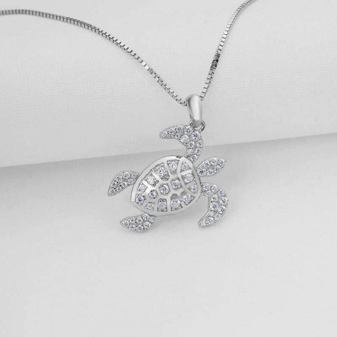 Feshionn IOBI Necklaces La Mer Pavé Sea Turtle IOBI Cultured Diamond Pendant