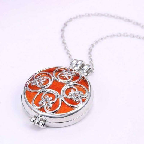 Feshionn IOBI Necklaces Large Round Filigree Aromatherapy Scent Diffuser Locket Necklace