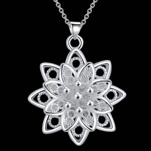 Feshionn IOBI Necklaces Large Sacred Lotus Flower Silver Necklace