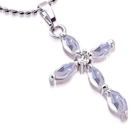 "Feshionn IOBI Necklaces Lavender ""Faith"" Small Cubic Zirconia Cross Pendant Necklace"