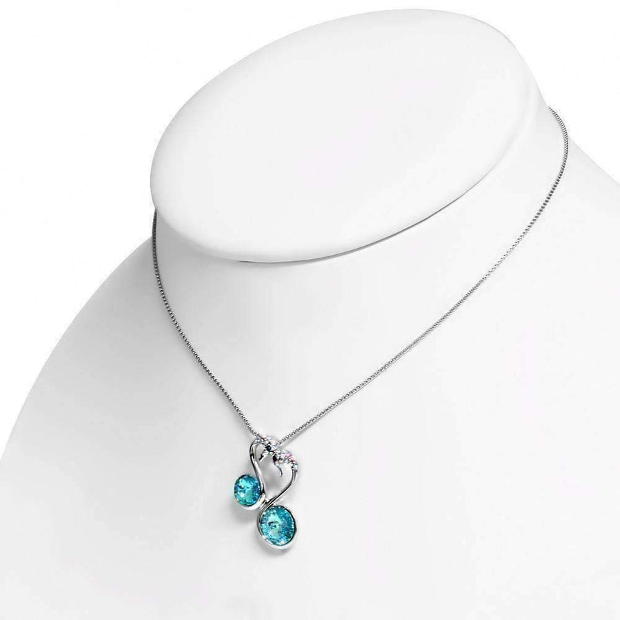 Feshionn IOBI Necklaces Deep Aqua Love Birds IOBI Crystals Swan Pendant and Necklace