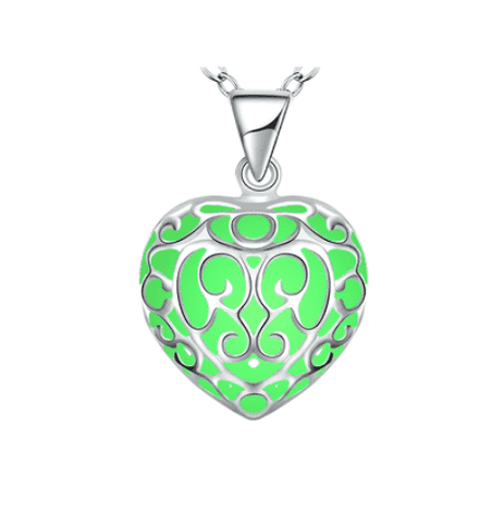 Feshionn IOBI Necklaces Luminous Heart Small Glow in The Dark Pendant Necklace