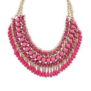 Feshionn IOBI Necklaces Magenta Pink Bohemia Weave Beaded Choker Necklace