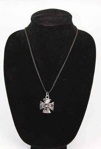 Feshionn IOBI Necklaces Maltese Cross & Ruby Crystal Skull Stainless Steel Pendant Necklace
