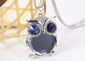 "Feshionn IOBI Necklaces Midnight ""Night Shades"" Austrian Crystal Owl Cabochon Pendant Necklace ~ Three Colors to Choose!"