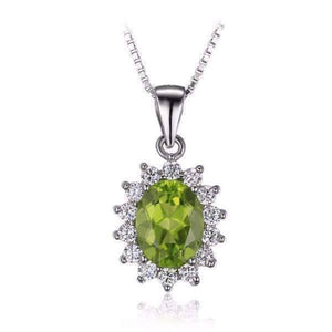 Feshionn IOBI Necklaces Milan Green Halo Oval Cut 2.5CT Genuine Peridot IOBI Precious Gems Pendant
