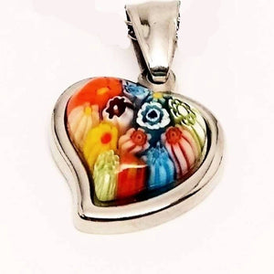Feshionn IOBI Necklaces Millefiore Italian Glass Heart Charm Necklace