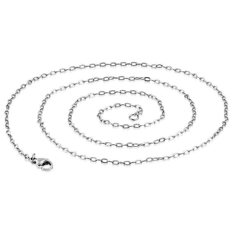 Feshionn IOBI Necklaces Mini Oval Link Style Stainless Steel Necklace Chain 18 or 23 inches
