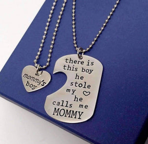 Feshionn IOBI Necklaces Mommy & Son Inspirational Heart Charm Dog Tag Necklace Set