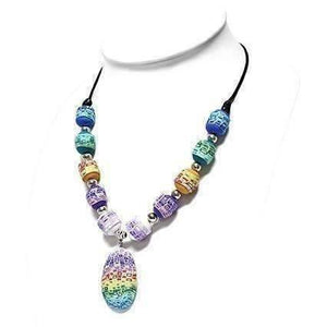 Feshionn IOBI Necklaces Multi Free Spirit Multi-Color Hand Made Polymer Clay Bead Necklace
