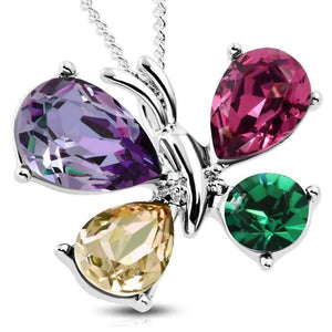 Feshionn IOBI Necklaces Multi Whimiscal Butterfly Multi-Colored Crystal Pendant Necklace