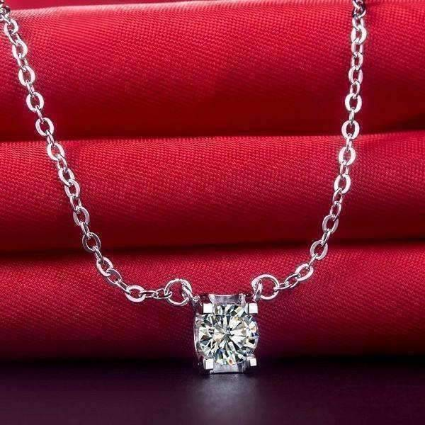 Natasha 1CT Tension Set IOBI Simulated Diamond Solitaire Pendant