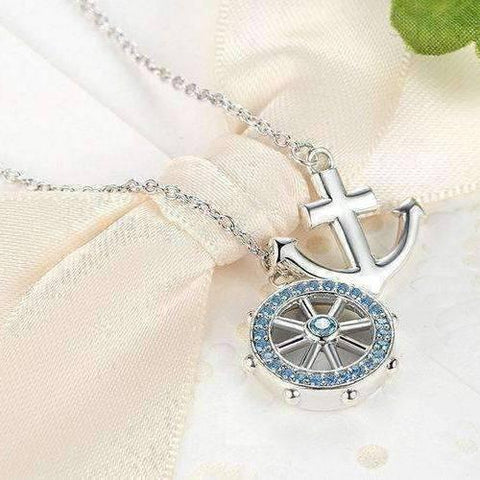 Feshionn IOBI Necklaces Nautical Adventure Blue Topaz Sterling Silver Lariat Necklace