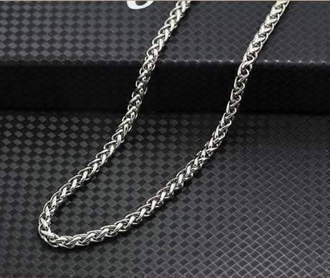 Feshionn IOBI Necklaces 24 inch / Stainless Steel Oakland 5mm Stainless Steel Men's Wheat Link Chain Necklace - Two Sizes