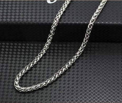 Oakland 5mm Stainless Steel Men's Wheat Link Chain Necklace - Two Sizes