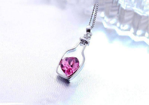 Feshionn IOBI Necklaces ON SALE - Bottled Up Love IOBI Crystals Necklace in Sapphire Pink