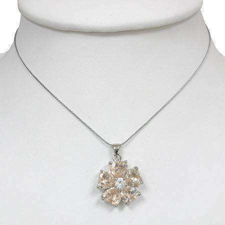 "Feshionn IOBI Necklaces ON SALE - ""Buttercup"" Cubic Zirconia Flower Pendant Necklace"