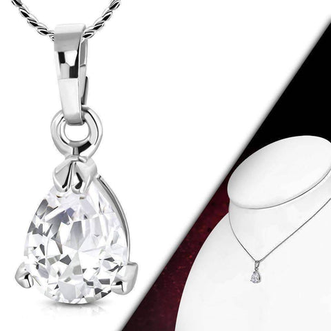 "Feshionn IOBI Necklaces ON SALE - ""Dainty Droplet"" Infused Cubic Zirconia Pear Pendant Necklace"