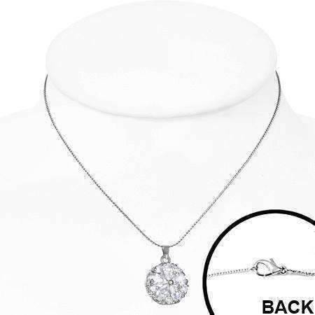"Feshionn IOBI Necklaces ON SALE - ""Daisy"" Cubic Zirconia Flower Pendant Necklace"