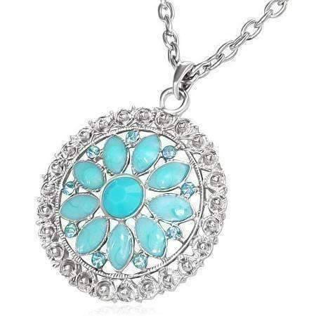 Feshionn IOBI Necklaces Spring Rain ON SALE - Delightful Daisy Vintage Look Enamel & CZ Floral Pendant Necklace ~ Two Fresh Colors to Choose!