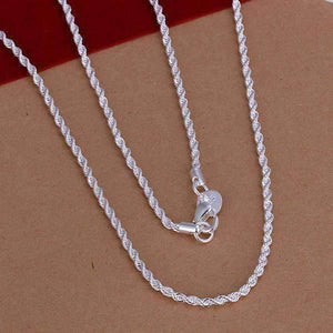 Feshionn IOBI Necklaces ON SALE - Diamond Cut Rope Chain Silver Necklace 18, 20, 22 or 24 inches