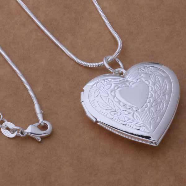 Feshionn IOBI Necklaces Sterling Silver ON SALE - Floral Design Stamped Sterling Silver Heart Locket Necklace