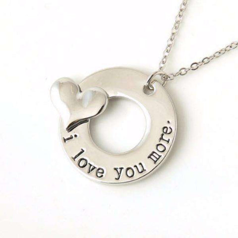 "Feshionn IOBI Necklaces ON SALE - ""I Love You More"" 3D Heart Stamped Charm Necklace"