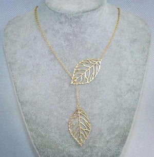 Feshionn IOBI Necklaces ON SALE - Leaf Tassle Necklace in Yellow Gold or White Gold