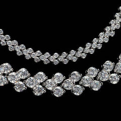ON SALE - Mosaic Swiss CZ Diamond Triple Platinum Plated Tennis Necklace