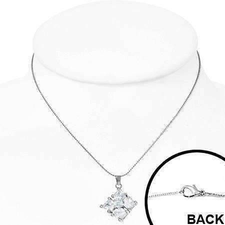 "Feshionn IOBI Necklaces ON SALE - ""Reflection"" Cubic Zirconia Square Pendant Necklace - Available in Two Colors"