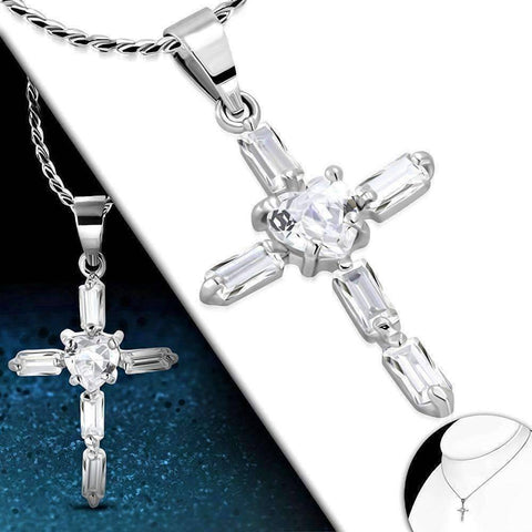 "Feshionn IOBI Necklaces ON SALE - ""Sacred Heart"" Small Cubic Zirconia Cross Pendant Necklace"