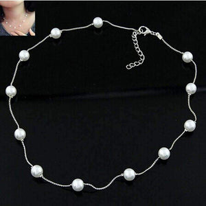 Feshionn IOBI Necklaces ON SALE - White Pearl Bead Chain Station Necklace