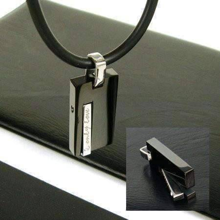 "Feshionn IOBI Necklaces Black ""Only Love"" Sleek Black Stainless Steel CZ Accent Pendant Necklace"