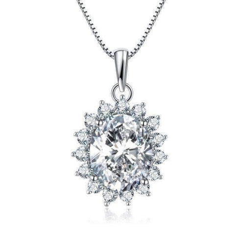 Feshionn IOBI Necklaces Orchide 4CT Oval Floral Halo IOBI Cultured Diamond Pendant