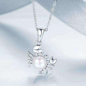 Feshionn IOBI Necklaces Ornate Pearl Crab Sterling Silver Necklace