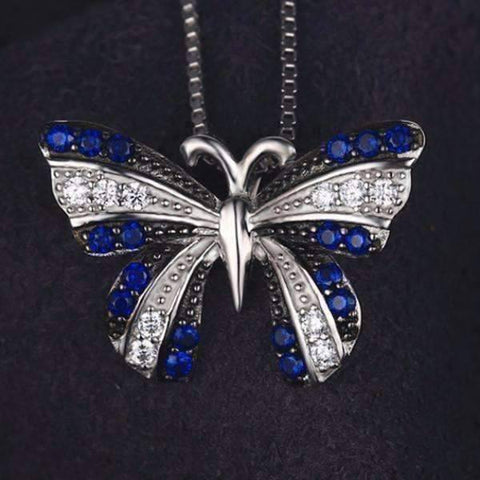 Feshionn IOBI Necklaces Papillon Blue Spinel Butterfly IOBI Precious Gems Halo Pendant Necklace