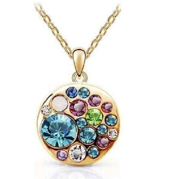 Feshionn IOBI Necklaces Aqua Party Confetti Austrian Crystal Rose Gold Necklace
