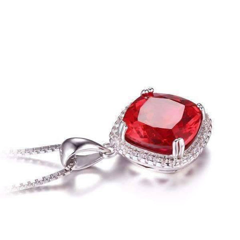 Feshionn IOBI Necklaces Passion Rubellite Cushion Cut 6.8CTW IOBI Precious Gems Halo Pendant Necklace