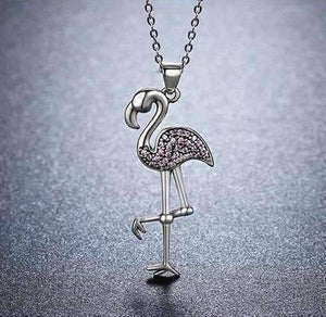 Feshionn IOBI Necklaces Perfectly Pink Flamingo Pavé CZ Sterling Silver Necklace