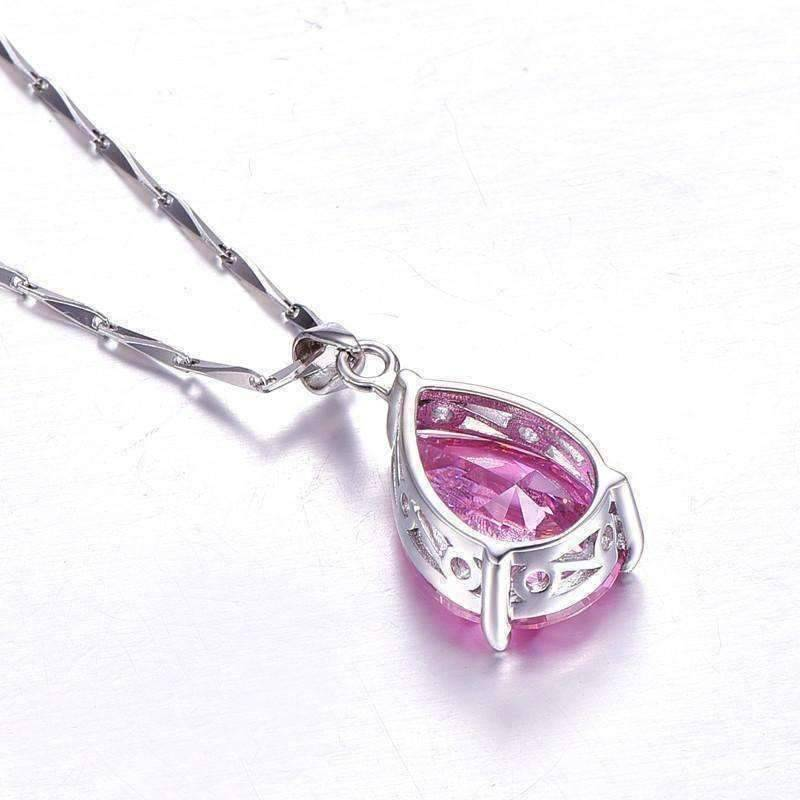 Feshionn IOBI Necklaces Persian Pink Pear 13.9CT Pink Topaz IOBI Precious Gems Pendant