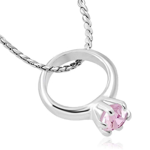 Feshionn IOBI Necklaces Pink CLEARANCE - Tiny Pink CZ Birthstone Ring Charm Pendant Necklace