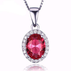 Feshionn IOBI Necklaces Pink Oval Pendant Pink Tourmaline Oval Cut 1.7CT IOBI Precious Gems Halo Pendant Necklace