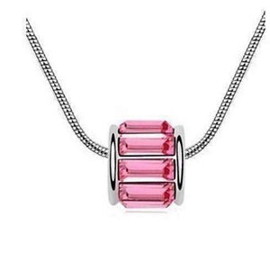 Feshionn IOBI Necklaces Pink Sapphire Baguette IOBI Crystals Necklace