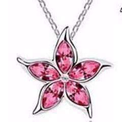 Feshionn IOBI Necklaces Pink Starfish Flower Jewel IOBI Crystals Necklace - Choose Your Color