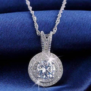 Feshionn IOBI Necklaces Platinum Belle Epoque Style Pendant Necklace with 1.25ct Swiss CZ in Platinum Plated Micro Pave' Setting