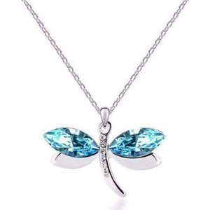 Feshionn IOBI Necklaces Platinum Blue Winged Austrian Crystal Dragonfly Necklace