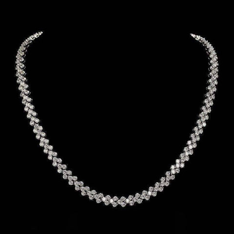Feshionn IOBI Necklaces Platinum ON SALE - Mosaic Swiss CZ Diamond Triple Platinum Plated Tennis Necklace